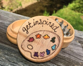 Made to order, free shipping paint pallete grinder, woodburned and painted herb grinder