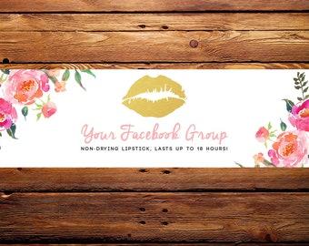 LipSense Facebook Banner Header // Custom Watercolor Florals