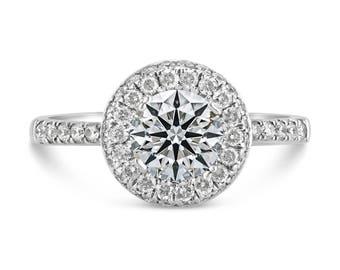 0.50ct Side Diamonds in 14K White Gold Semi Mount Halo Ring (NO CENTER STONE)
