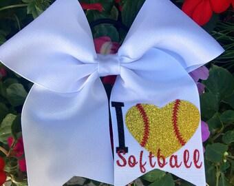 """Softball Hair Bows/ """"I love softball """"Hair Bows/Personalized Hairbows/Customized Softball Hairbows"""