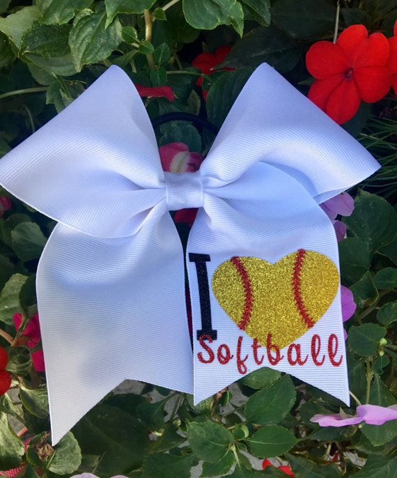 foto de Softball Hair Bows/ I love softball Hair