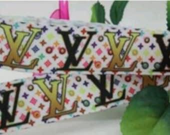 LV popular fashion 7/8 inch grosgrain ribbon * sold by the yard
