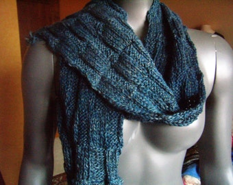 Wool scarf knitted to the point of checkerboards, blue/green, cowl, scarf, infinity, handmade