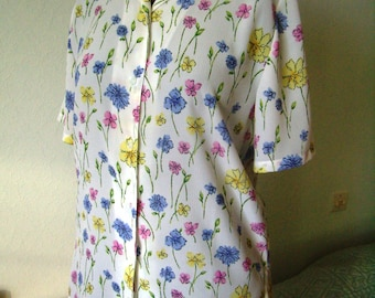 Flowery blouse, short sleeve, Vintage, woman, size S/36-38