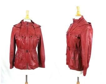 90's Leather Jacket Medium Hooded / maroon burgundy red coat detachable hood grunge vintage women's clothing lined side pockets zip up front