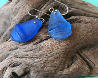 Blue sea glass earrings with silver wire