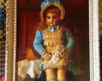 Framed Antique Doll Photograph