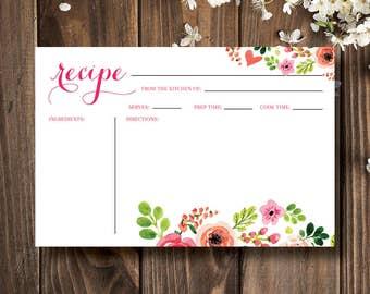 Recipe Card | 4x6 Recipe Card | Printable Recipe | Printable Card | Recipe | Printable | Recipe Cards | Instant Download | Floral Wedding