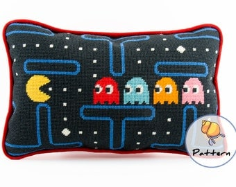 Pacman Cross Stitch or Needlepoint Pattern, Instant Download Digital File, Contemporary Modern Needlepoint, Video Game Pattern, Gamer Crafts