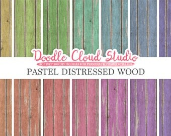 Distressed Wood digital paper, Pastel Rainbow Colors, Old Fence Wood Backgrounds, Real Rustic Wood textures, Instant Download Commercial Use