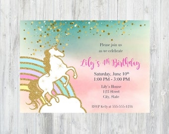 Unicorn Birthday Invitation, Unicorn Invitation, Unicorn Birthday Party, Printable Rainbow Unicorn Invitation, Rainbow Unicorn Invitation