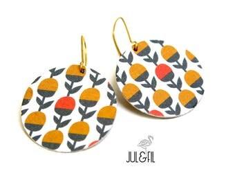 Stud Earrings geometric Scandinavian flowers graphics duplex rust mustard yellow Japanese paper