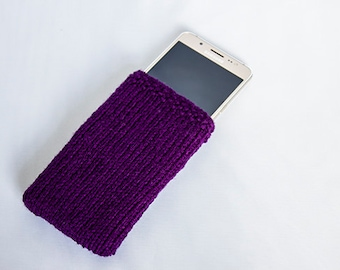 Purple Felt Lined knitted Phone Sleeve, phone case, Smartphone, iPhone 7, Samsung Galaxy ALL Phone Sizes