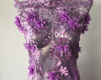 Lilac purple, tulle with 3D flowers sequins pearls evening wedding bridal brides maid