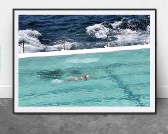 Silver Swim, DIGITAL DOWNLOAD, Beach Photography, Bondi Beach, Summer Art, Coastal Art, Nautical, Pool, Modern Art, Home Decor, Wall Art