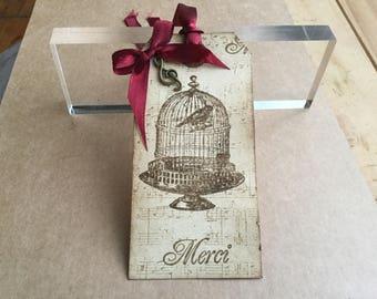 10 Handmade Birdcage & Music Wedding Favour Gift Tags large wishing tree