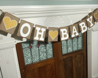 Oh Baby Banner, Baby Banner, Baby Shower Decorations, Gender Reveal Decorations, Rustic Baby Banner