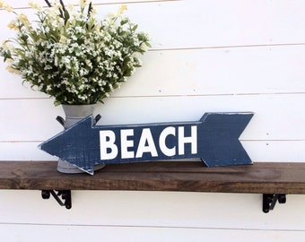 Beach arrow beach sign wood arrow