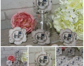 12 Skull Bride & Groom Straw,Cake Toppers Wedding Decoration,Cupcake Pick,Party,Drink Toppers