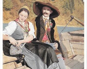 Tracht Rofentaler, Austrian Tyrolean Man & Woman in Traditional Costume, Color Vintage 1950s Austrian Postcard