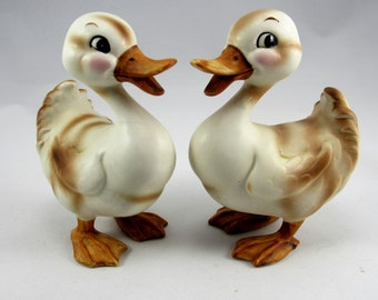 """Vintage Josef Original  1950's Pair Set of 2 of 5 1/4"""" Ducks with Original Josef Labesl.  The Hand Painted Ducks are in Very Good Condition!"""