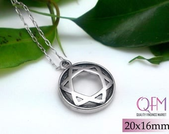 2 pcs Magen David - Star of David - Jewish Star - Round Pendant 20x16mm Sterling Silver 925 Antique Silver Finish