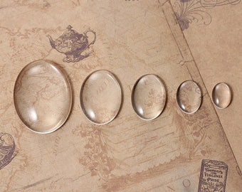 5 cabochon glass oval 5 dimensions