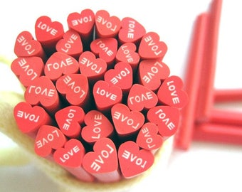 5 heart red Love batter 5cm fimo canes