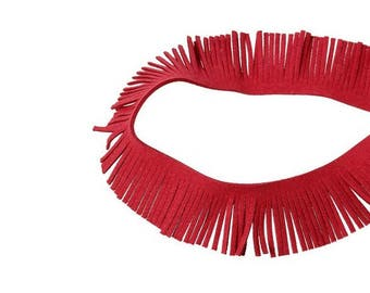 2 m stripe in red suede fringe