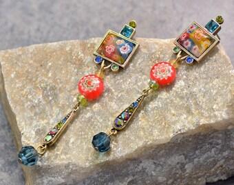 Millefiori Glass Tango Earrings, Long Millefiori Earrings, Murano Glass, Rainbow Earrings, Summer Jewelry, Art Glass, Boho, Festival E470