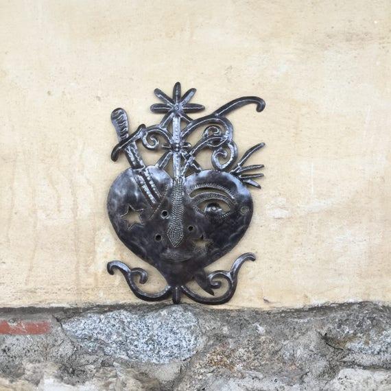 """Metal Heart, Freda Veve Nail Details, Haiti Wall Art, Fair Trade Home Living Decor 10"""" x 14"""""""
