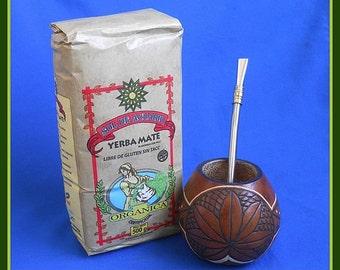Leaves Mate Gourd + 1lb Organic Yerba + Stainless Steel Bombilla