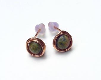 Unakite earrings, Copper earrings, Wirewrap earrings, Stud earrings, stone earrings, earth jewelry, gifts for her, natural jewelry
