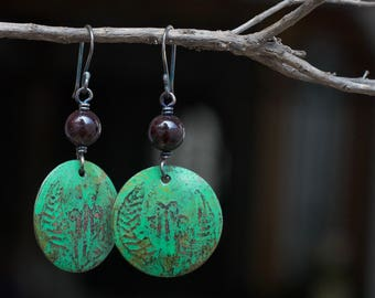 Boho earrings, Tribal earrings, Green patina earrings, Bohemian jewelry, Green Natural stone earrings Handmade gift dangle earrings Vintage