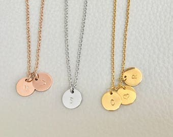 Initial necklace, gold silver rose gold initial,disc initial necklace, circle initial necklace, 3 initial necklace,bridesmaid gift,