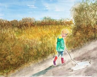 "Watercolour, art, painting. ""Fall Stroll."" Child, walking, woods, autumn, Nova Scotia, Nova Scotia artist, impressionism, fishing child"