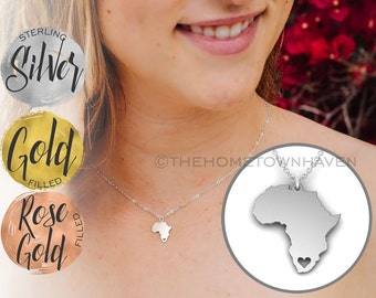 Africa Necklace - I heart Africa necklace, Gold fill and Rose Gold fill available