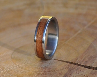 Stainless Steel Ring for Women and Men with Wrapped Polysander Wood Inlay
