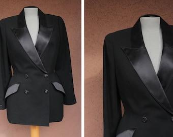 1980's Thierry Mugler Paris Silk Jacket - 80's Thierry Mugler Black Silk Blazer - Size M
