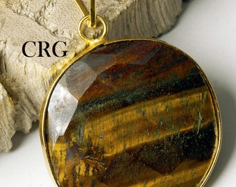 Gold Plated Faceted Round Tigereye Pendant (FC5DG)