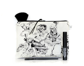 Day of the dead, Toile Skeletons pouch, Make up bag, Mexican, Dia de los muertos, Large pencil case, Horror Goth, Zipper pouch, Teacher gift