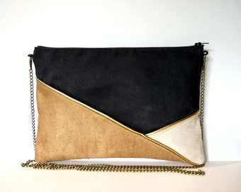 Pouch, shoulder bag black, camel, beige