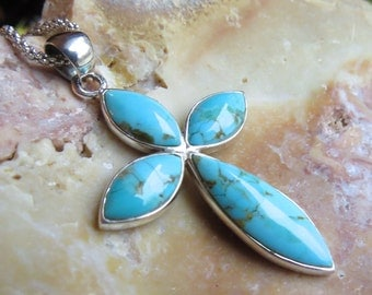 Turquoise Cross Religious Christian Sterling Silver Pendant on learher cord. Chain not included.