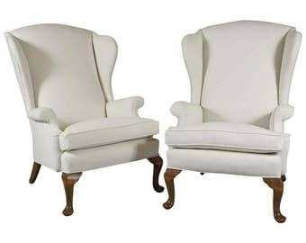 Pair of Early 20th Century Queen Anne Style Wing Chairs