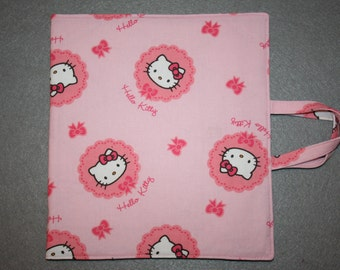 Art and activity bag, travel tote, pencil case with zip, drawing and note pad holders, A5. Hello Kitty fabric.