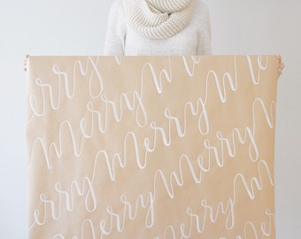 Christmas Gift Wrap || Handwritten || Brush Calligraphy || Merry