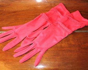 Red Formal Gloves Size 7.5 Nylon 60s Long Evening Gloves