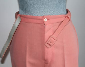 1970s Orange Pants by Allure, Tangerine Trousers Size 16 Matching Belt