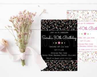 Personalised Confetti Inspired Birthday Invitations with Envelopes