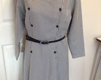 Original Vintage 1970's Houndstooth Pattern Dress - Size 14
